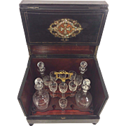 SOLD Vintage Tantalus Case w/ Crystal Decanters and Glasses Mother of Pearl and Brass