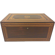 SALE Vintage Large Inlaid Marquetry Wood Box with Brass Lock (No Key) and Hinges Beautifully .