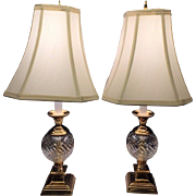 SALE Vintage Pair of Brass  and Crystal Look Table Lamps w/ Fabric Lampshades Work Unknown ...