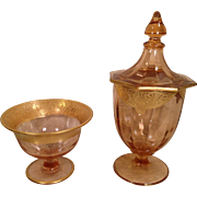 SALE Two Pink Glass Pieces with Gold Colored Trim with Design Bowl Vase with Lid