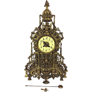 SALE Antique 1890s French Louis XIV Bronze Rococo Style Clock Runs and Strikes Maker Not ...