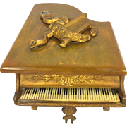 SALE Vintage Grand Piano Music Box Thorens Swiss Gold Gilt Piano w/ Keyboard Bakelite Top ...