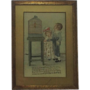 Very Rare Georgian Embroidered Picture and Verse. The Duet. Children and Canary. C.1830
