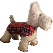 Vintage Plush Scotty Dog, West Highland Terrier by Wendy Boston. C.1948