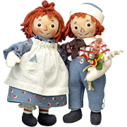 """Vintage R. John Wright Raggedy Ann & Andy """"Forever Friends"""" Dolls Low Edition Number"""