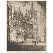 """LISTED ARTIST Joseph Pennell (American 1857-1926) """"The West Front, Rouen Cathedral"""""""