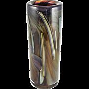"Heavy and Tall Rochester (New York) Folk Art Guild Studio Art Glass ""Swirls of Color ..."