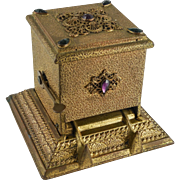 Ornate Six Jeweled Gold Ormolo Mechanical Cigarette Dispenser by The Art Metal Works, Newark N