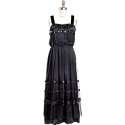 Dated 1916 Chandler & Co Silk Evening Gown with Silk Tulle and Sequin Overlay