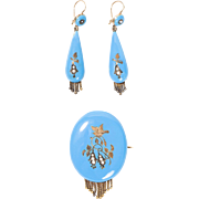 Rare 1880s Victorian Blue Enamel & Seed Pearl Earring & Brooch Mourning Jewelry Set