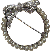 Vintage 1930's Otis .925 Sterling Silver Brooch with Imitation Pearls and White Rhinestones
