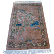 1920's 3'x5' Silk Carpet Hand Knotted From China