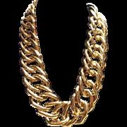 Vintage Goldtone Offset Square Linked Necklace