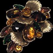 Vintage Amber and Goldtones Fabulous Brooch