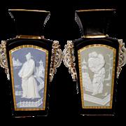Henri Ardant & Co. HA Cie  Old Paris LIMOGES Black Porcelain Chinoiserie Vases