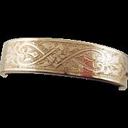 Art Deco 10 Karat Rose Gold Filled Hinged Bangle Bracelet Circa 1920's