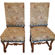 Pair of Louis XIII style osse de mouton side chairs