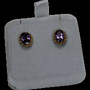 SALE Oval Amethist Earrings, 14kt YG