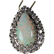 SALE Large Opal and Diamond Pendent 14 karat Yellow Gold