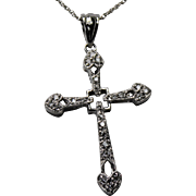 REDUCED Diamond Cross with Chain, 14kt WG