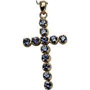 SALE LeVian Large Blue Topaz Cross. 14Kt Yellow Gold