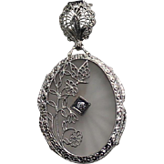 SALE Camphor Glass and Diamond Pendent, 14Kt WG