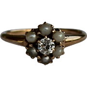 REDUCED Victorian Seed Pearl and Diamond Ring, 14kt YG