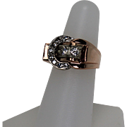 Art Deco Buckle Ring, Diamond and Ruby, 14kt Rose,Yellow and White Gold