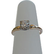 SALE Vintage Jabel Diamond Solitaire, 14Kt Yellow Gold