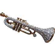 SALE Rare Retired Signed Swan Swarovski Gold Plated Pave Trumpet Brooch Pin