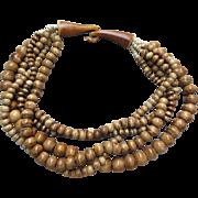 SALE Vintage Tribal Multi Strand Chunky Carved Bone Bead Necklace