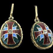 REDUCED Vintage Sterling Silver Russian Enamel Maltese Cross Egg Earrings 14k Hooks