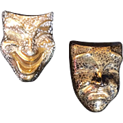 Vintage Porcelain Comedy and Tragedy Mask Pins