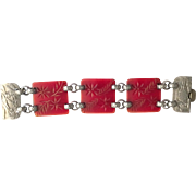 Carved Red Bakelite and Aluminum Bracelet