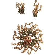 Schreiner Abstract Flower Brooch and Earrings Set