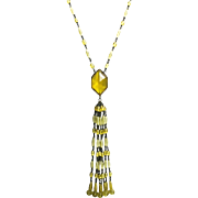 1920's Amber-colored Crystal Tassel Necklace