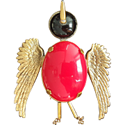 "Vintage ""Large Red Bird"" Pin"