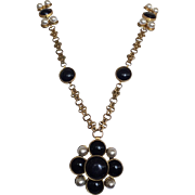 Black and White Unsigned Chanel Maltese Necklace