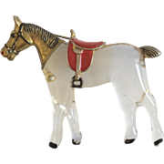 Rare Horse Jelly Pin with Enameled Red Saddle