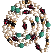 Faux Pearl and Rondelle Sautoir Necklace