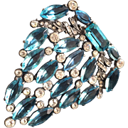 Beautiful Aqua and Clear Stone Dress Clip from the 1930's