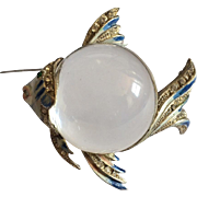 Corocraft Sterling Jelly Enameled Fish Pin
