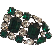1930's Emerald Green and Clear Stone Dress Clip