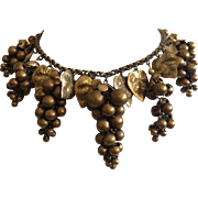Early Miriam Haskell Gold Grape Necklace