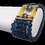 Art Deco Blue Beaded Bracelet with Apple Juice Bakelite Clasp