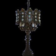 Hollywood Regency Aurora Borealis Metal Lamp