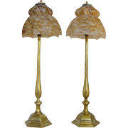 Stately Pair Art Deco Brass and Art Glass Lamps