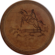 Round Wooden Box with a Lid, Equine Theme, Japanese