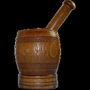 19th Century American Mortar & Pestle from Oak Heartwood