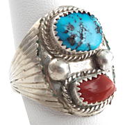 Men's size 11.5 U.S. signed Navajo Sterling silver ring, turquoise, red coral